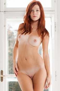 Sexy redhead posing nude in front of the window