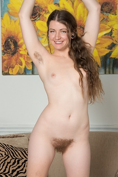 Mahonia strips and shows her hairy naked body