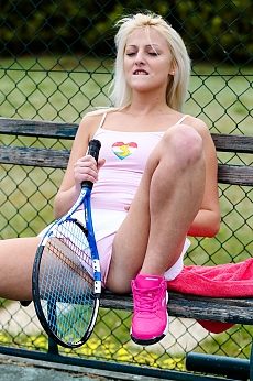 She is the star of the tennis court and is not shy either!
