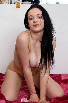 She's back, at 18, she's as fresh as a cheesecake! Lolling around on the bed, touching herself, stretching, moving sensually, she's a stunner! Her pale skin and cum-fuck-me-eyes will transport you right to her comfy bed!