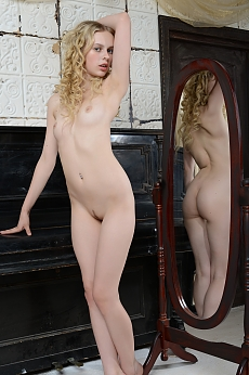 Blonde Teen Nude at Piano