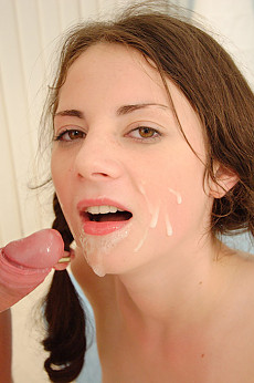Mia gets a mouthfull of cum after hard sex