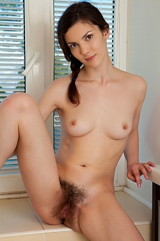 Girl with hairy twat